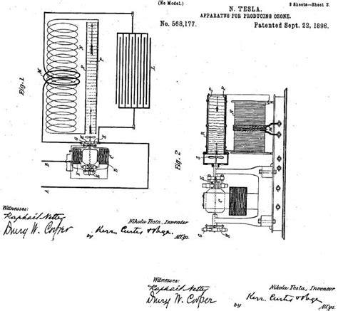 Tesla Patent Apparatus For Producing Ozone