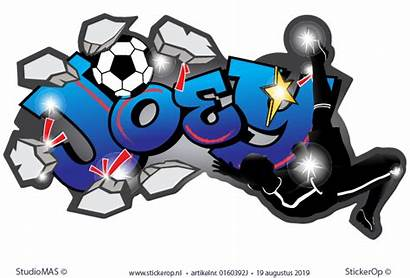 Graffiti Joey Omhaal Voetbal