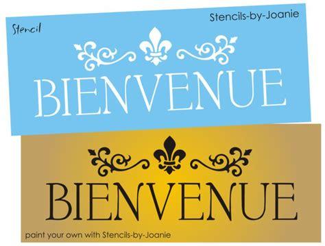 Paris Shabby STENCIL Bienvenue French Welcome Fleur Scroll ...