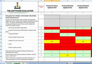 software selection tools software evaluation matrix With software vendor selection criteria template