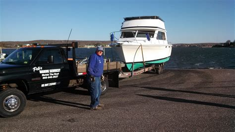 Boat Junk Yard Ct by Boat Hauling And Transport Pete S Marine Services