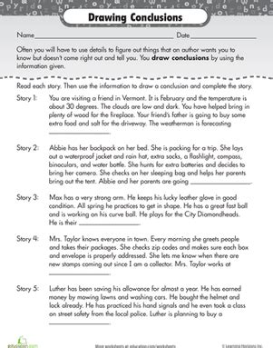 Reading For Comprehension Drawing Conclusions  Worksheet Educationcom
