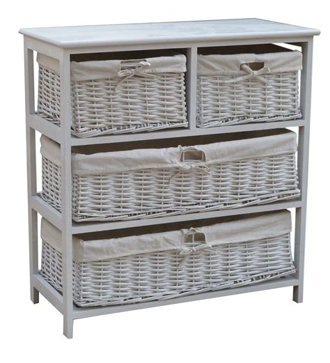 white cabinet with baskets charles bentley wooden wicker drawer storage cabinet