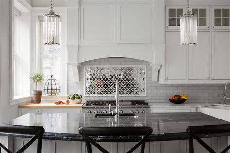 Mirrored Arabesque Kitchen Tiles   Transitional   Kitchen
