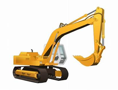 Excavator Clip Construction Clipart Equipment Heavy Vector