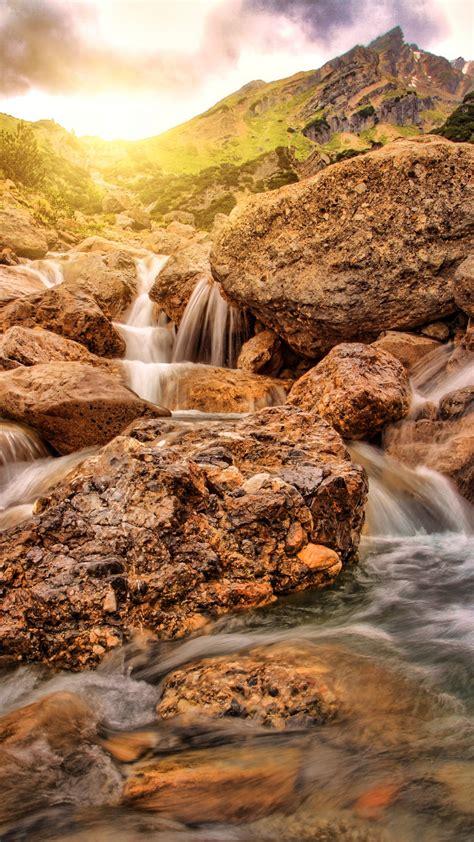 wallpaper waterfall alpine  travel