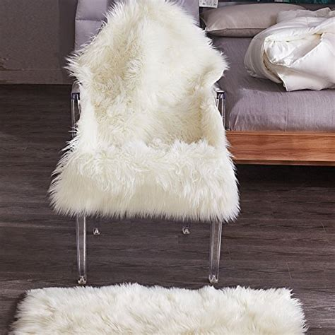 chanasya super soft faux fur fake sheepskin white sofa