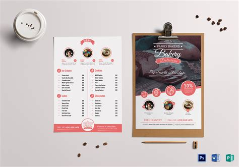 cherry bakery menu design template  psd word publisher