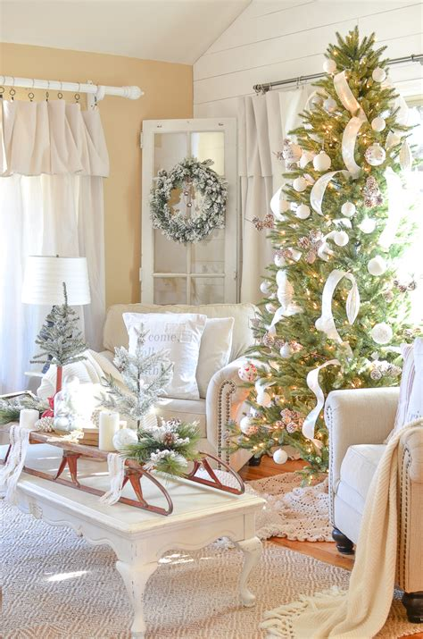 neutral farmhouse christmas decor   front room