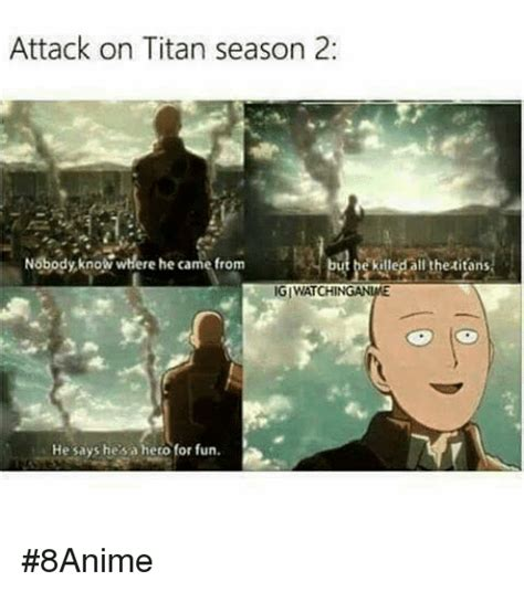 Attack On Titan Memes - attack on titan season 2 nobody kno where he came from utpektledallthetitans giwatch he says he