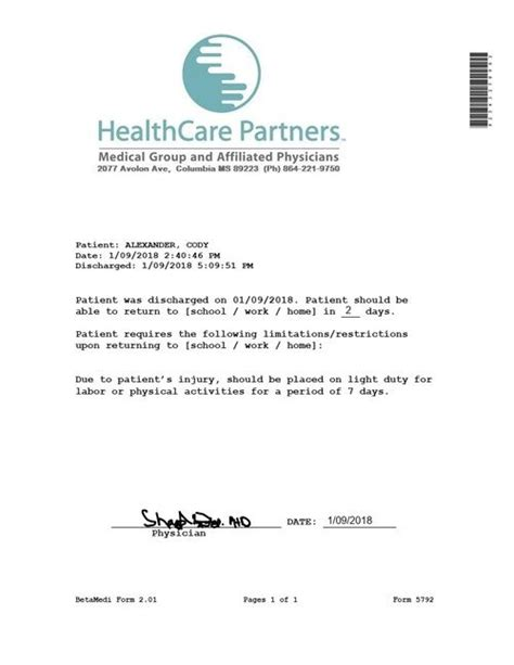 clinic release healthcare partners   doctors note