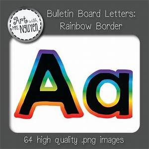 bulletin board letters black with rainbow gradient border With black bulletin board letters