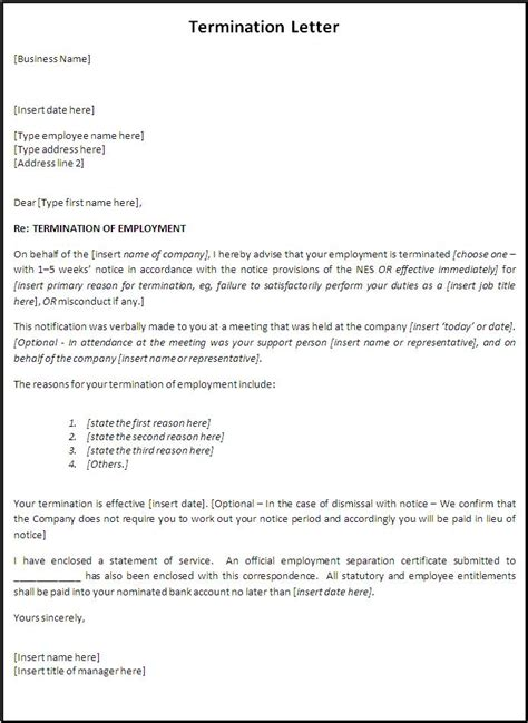 employment termination letter  printable documents