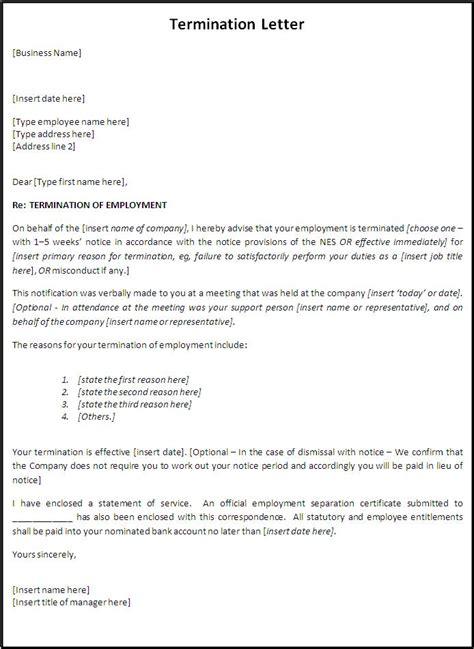 write  termination letter  word templates