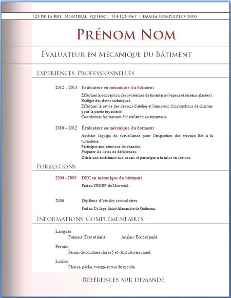 Exemple De Cv Professionnel Word by Cv Professionnel Exemple Gratuit Degisco