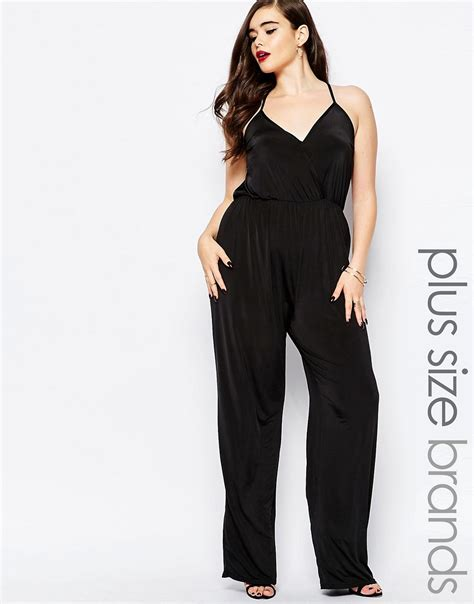 wrap jumpsuit boohoo plus boohoo plus wrap front jumpsuit at asos