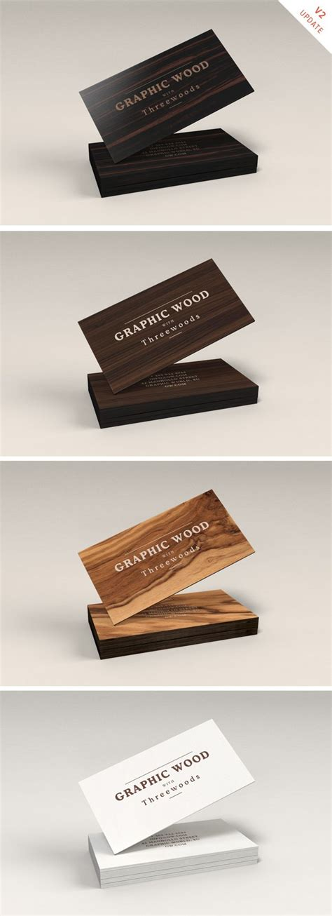 wooden business cards mockup psd  file