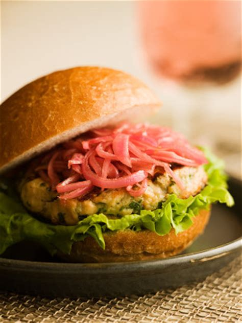grilled salmon burgers  pickled red onions chef