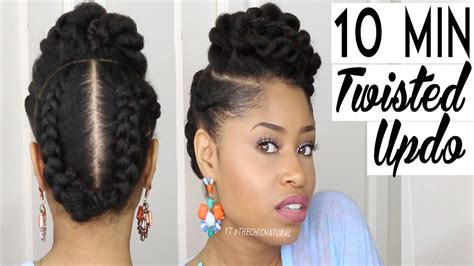 minute twisted updo natural hairstyle youtube