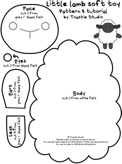 sheep template soft pattern tutorial handmade cuddles