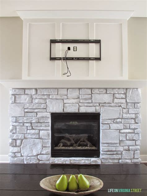 Fireplace Paint - white washed fireplace on virginia