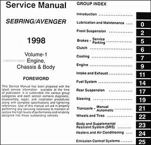 1998 Chrysler Sebring Dodge Avenger Repair Shop Manual