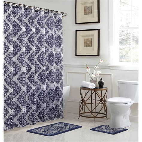 bath fusion terrell light bluenavy  piece bath rug