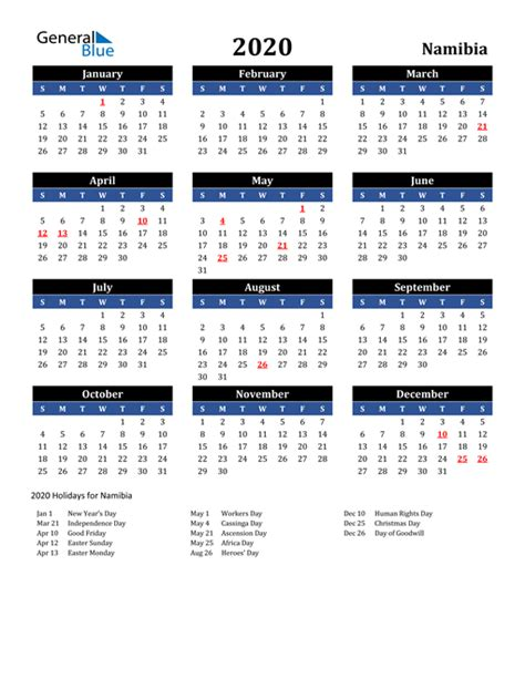 calendar namibia  holidays