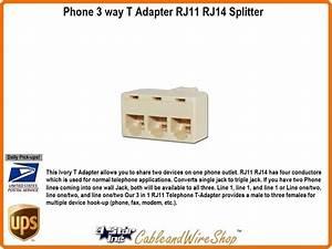 Phone 3 Way T Adapter Rj11 Rj14 Splitter