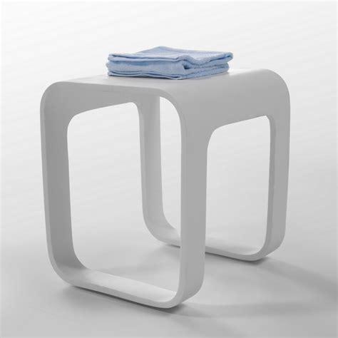 siege salle de bain tabouret siège de salle de bain 35x38 cm composite blanc
