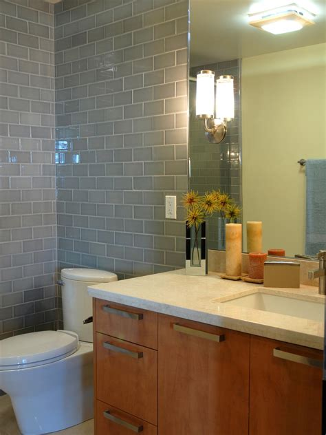 gray modern bathroom with maple vanity hgtv