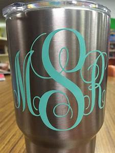 vinyl 3 letter initials for yeti cup or car decal 3x4 inch With letter decals for cups