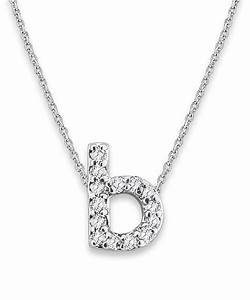 Kc designs white gold diamond letter b necklace in white for Letter b diamond necklace