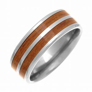 8mm titanium wood look inlay design wedding ring for Inlay wedding rings