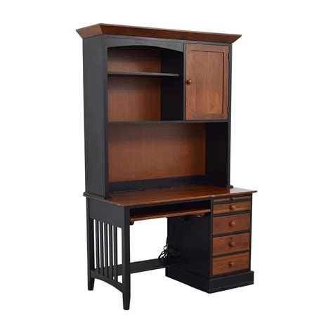 wood desk with hutch 87 off ethan allen ethan allen cherry wood black desk