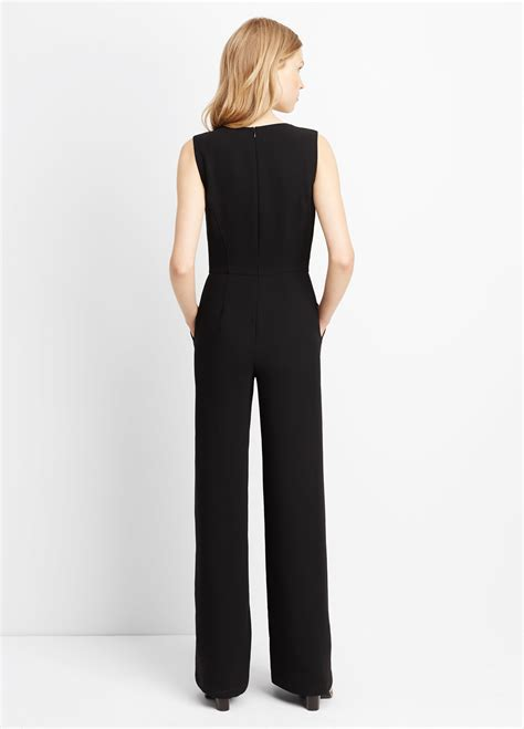 vince jumpsuit vince v neck jumpsuit in black lyst