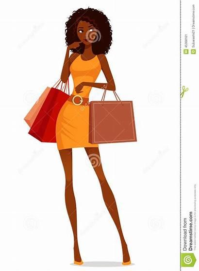 Shopping African American Woman Cartoon Clipart Illustration