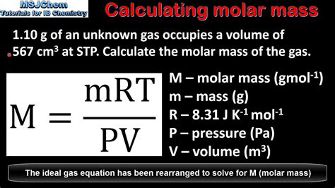 calculating molar mass   gas  pvnrt youtube