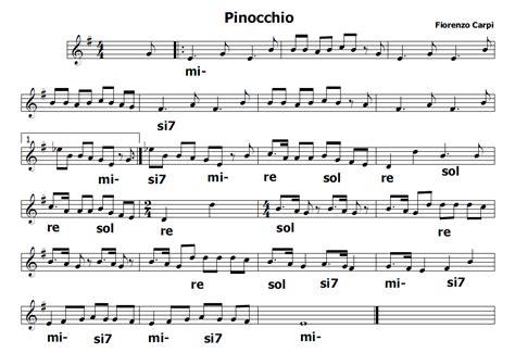musica  spartiti gratis  flauto dolce pinocchio