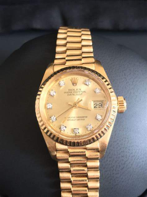 VINTAGE ROLEX OYSTER PERPETUAL DATEJUST 18K 750 YELLOW ...