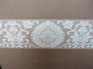 Damask beige wallpaper border pattern modern self adhesive ...