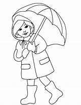 Coloring Rain April Pages Umbrella Clipart Boots Showers Printable Rainy Season Spring Drawing Clip Slicker Clothes Colouring Cliparts Colour Coat sketch template