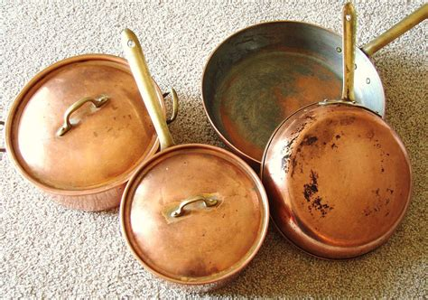 vintage tagus copper cookware pots  pans set