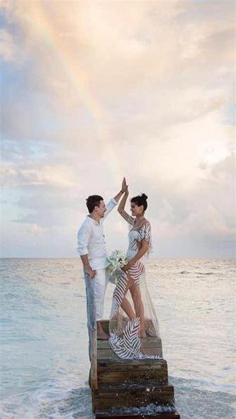 model brazil  menikah  pakai bikini  gaun transparan