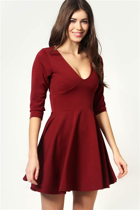 sleeve v neck dress boohoo sacha sleeve v neck skater dress ebay