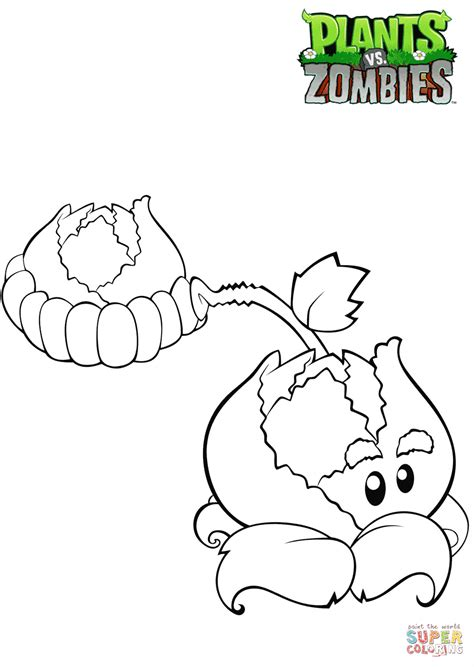 plants  zombies cabbage pult coloring page