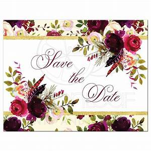 Beautiful Burgundy Watercolor Floral Save the Date Card