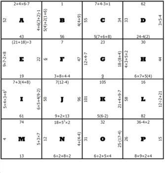 order of operations middle school math puzzle math 5th