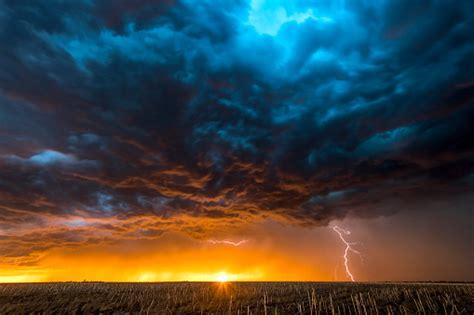 large lightning strike  dusk  tornado alley stock
