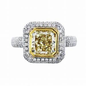 fancy yellow cushion cut diamond engagement ring in 18k With yellow diamond wedding ring